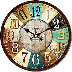 MEISTAR French Country Style Wooden Decoration Wall Clock,16 Inch Super Large Arabic Numerals Rustic Country Wall Clock for Classroom and Office Decor