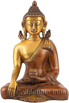 "Collectible India Brass Bhumisparsha Buddha Statue, 6"", Multicolour"