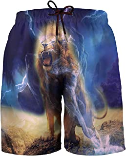 Hgvoetty Mens Graphic Swim Trunks 3D Print Quick Dry Surf Beach Board Shorts with Mesh Lining
