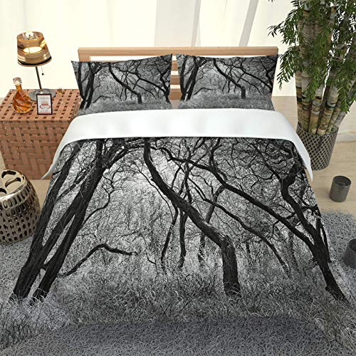 LFOFRP Duvet Cover Sets Single Size - 3 Pieces Black And White Woods Landscape Microfiber Polyester Bedding Set, Ultra Soft Quilt Duvet Cover 135X200CM With 2 Pillowcases, For Baby Kids Adults Teenage