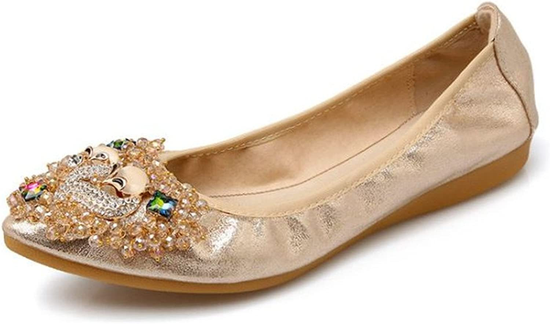 Set adil Womens Foldable Soft Pointed Toe Ballet Flats Rhinestone Comfort Slip on Flat shoes