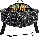 SXLCKJ Fuego de fuego al aire libre Hormigón redondo y leña fuego fuego fuego barbacoa parrilla estufa Bowl calentadores con parrilla (chimenea)