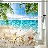Cortina de ducha de playa, cortina de ducha tropical de playa, palmeras árboles, estrellas de mar, decoración de playa, cortina de ducha con temática de playa, ganchos incluidos, 70 pulgadas