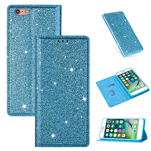 """Nadoli Glitter Coque pour iPhone 6S 4.7"""",Luxe Fille Femme Brillante Bling Cuir PU Magnétique Portefeuille Housse Étui à Rabat pour iPhone 6S/6 4.7"""""""