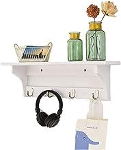 Handgemaakte hangende portiekplank met haken kapstok, wandplank opslagstandaard voor gang woonkamer slaapkamer display (wi...