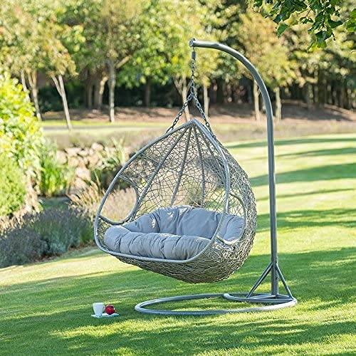 Large Hanging Comfortable Stylish Hanging Egg Chair Smooth Rocking Action Patio Indoor Outdoor Garden Use Weave Egg with...