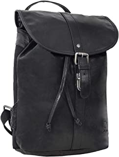 Gusti Lederrucksack Damen Leder - Bennett Rucksack Cityrucksack Backpack Daypack Wasserdicht 12L Vintage Damen Herren Schwarz