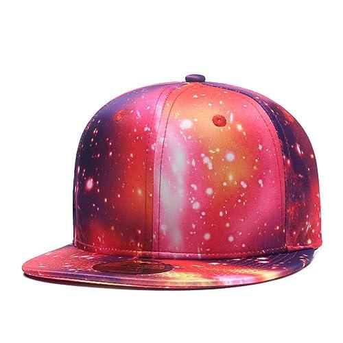 pretty nice d7aa2 b5bb6 Quanhaigou Purple Galaxy Snapback Hat Unisex Trucker Hat Hip Hop Plaid Flat  Bill Brim Adjustable Baseball