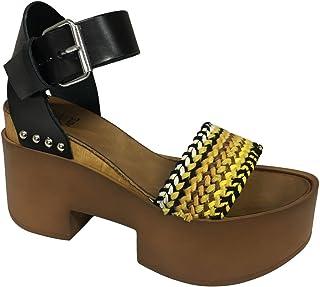 VINT AGE Sandalo Donna Cuoio/Nero/Giallo MOD 1821 100% Pelle Made in Italy