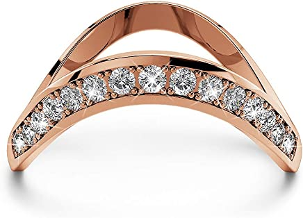 KRYSTAL COUTURE Contortion Ring w/Swarovski® Crystals-Rose Gold/Clear Modern Jewellery for Women