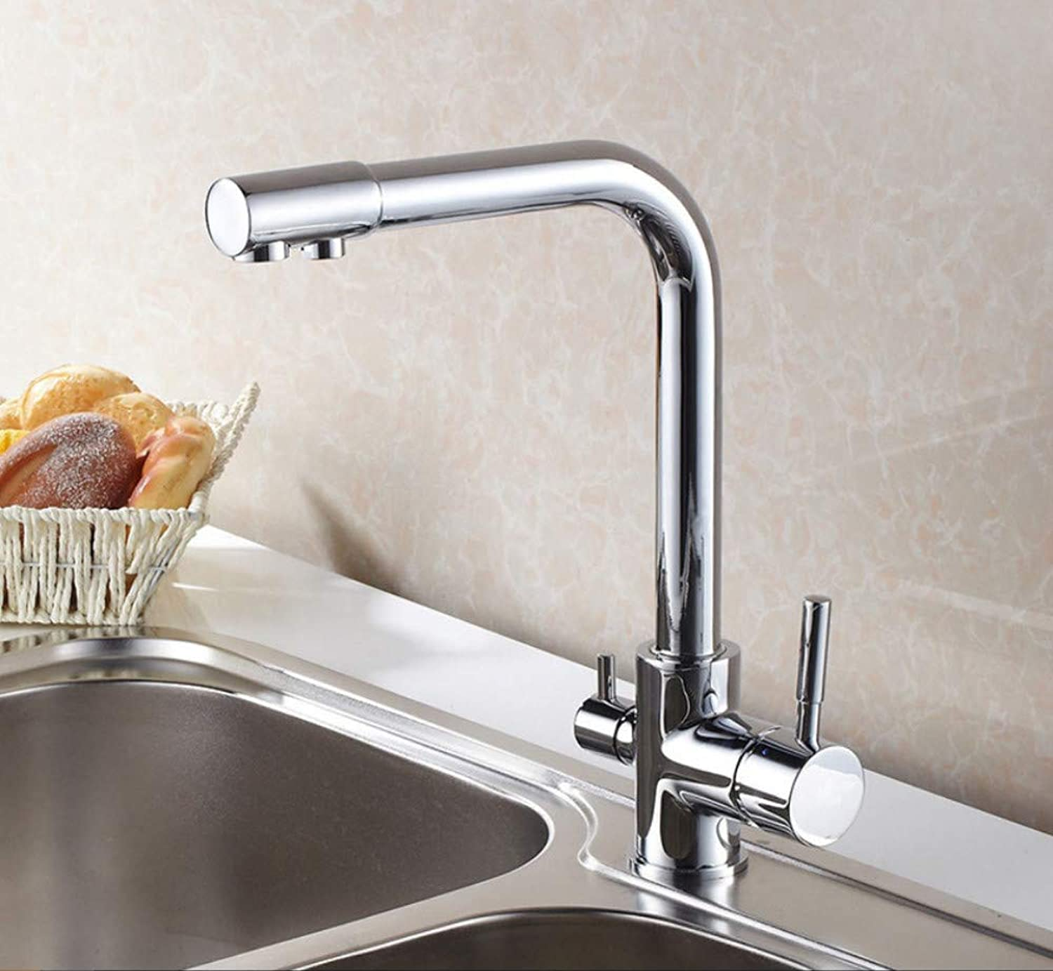 Xiehao Kitchen Faucet Hot & Cold Water Purifier Faucet Single Hole 360 Degree redating Double Handle Double Way Bathroom Faucets Taps