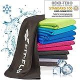 Fit-Flip Kühlendes Handtuch 100x30cm, Mikrofaser Sporthandtuch kühlend, Kühltuch, Cooling Towel, Mikrofaser Handtuch – Farbe: schwarz, Größe: 100x30cm