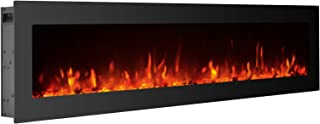 GMHome 50 Inches Electric Fireplace Wall Mounted Freestanding Heater Crystal Stone Flame Effect 9 Changeable Color Fireplace, with Remote, 1500W - Black, Glass Panel,