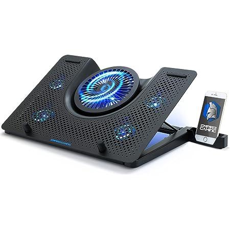 EMPIRE GAMING - Turboost Refroidisseur PC Ordinateur Portable Gamer Aluminium - 5 Ventilateurs - Support 12 à 17 Pouces - 5 Hauteurs – Rétroéclairage LED Bleu
