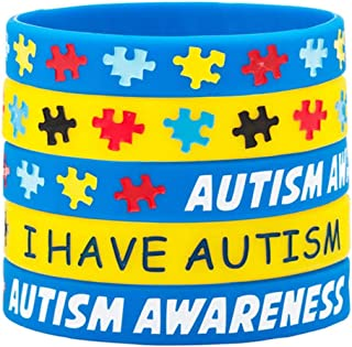 Infinite Memories 5 Pack Autism Awareness Silicone Sports Wristband Bracelets Jigsaw Colored Puzzle Pieces I Have Austism