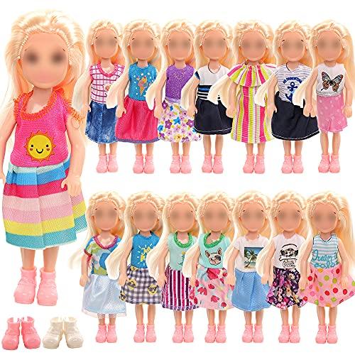 Miunana 10 Vestiti + 2 PCS Scarpe per Chelsea 6 Pollici Bambola Bambina (Non Include Bambola)