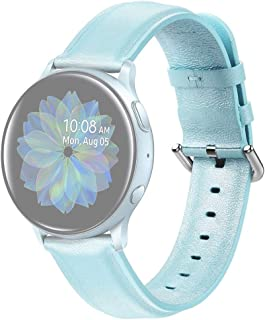 Beautiful watch band For Galaxy Watch Active 2 Smart Watch Genuine Leather Wrist Strap Watchband, Size:22mm(Pink) (Color : Light Blue)