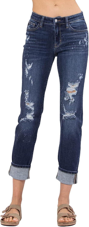 Judy Blue Bleach Splash Destroyed Mid-Rise Boyfriend Jeans!