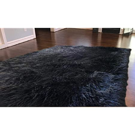 Amazon Com 8 X10 Black Shaggy Fur Faux Fur Rug Rectangle Shape Plush Soft Modern Fur Rug Living Room Area Rug Furniture Decor