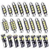Kinstecks 23PCS Can-Bus Kit d'ampoules SMD LED sans erreur LED de voiture Ampoule intérieure Festoon BA9S Canbus T10 C5W Xenon