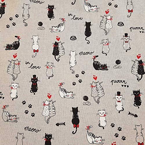 Stoff Meterware Baumwolle Natur Katzen schwarz weiß Katze pflegeleicht Dekostoff Vorhangstoff