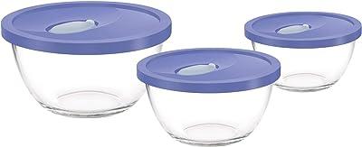 Treo by Milton Borosilicate Glass Mixing Bowl with Flexi Lid 3 Pcs Set, 500 ML - 1500 ML, Pink