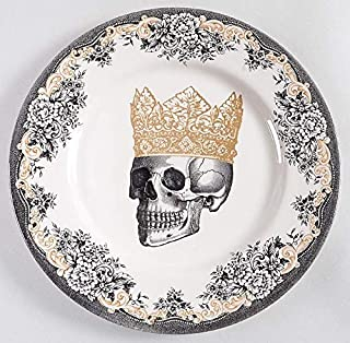 Royal Stafford Halloween Gold & Black Skull with Crown Dinnerware - Set of 4 (Dinner Plates.)