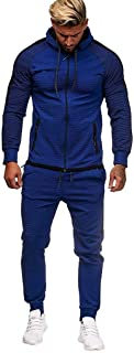 Men Sweatsuits Sets Big and Tall Slim Fit Tracksuit Stripe Zipper Hooded Sweatshirt Jogger Pants Outfits 2019