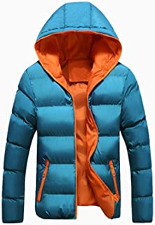 Men Winter Jacket Fashion Hooded Thermal Down Cotton Parkas Male Casual Hoodies Win,Blue White,S
