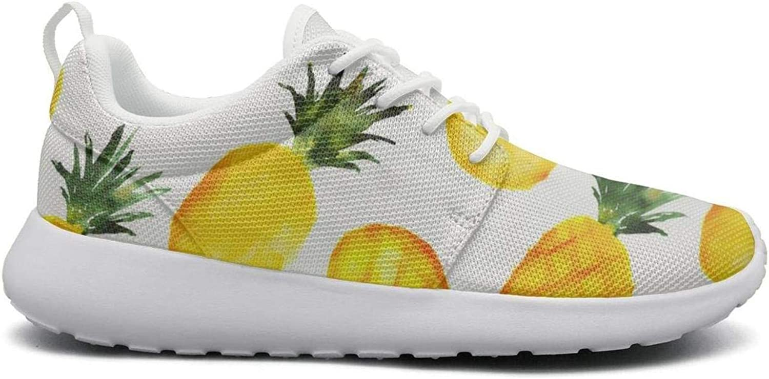 FEWW11 Women Cool Lightweight shoes Sneakers Watercolor Yellow Pineapple Fruit Canvas Upper Gym Lace-Up