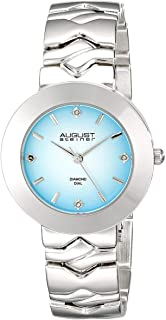 August Steiner Womens Minimalist Dress Watch - Gradient Blue Diamond Dial on Silver Stainless Steel Bracelet - AS8157