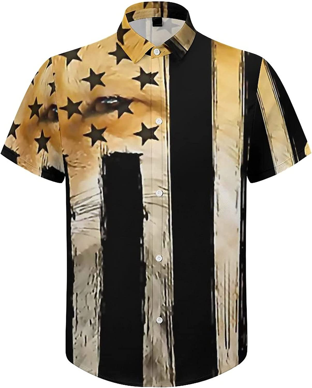 Hawaiian Shirts for Men American Fox Flag Printed Beach Shirt Hawaiian Shirts