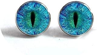 Dragon Eye Stud Earrings Green Blue or Purple Eye Ear Nail Sauron Eye Jewelry Glass Cabochon Earrings Handmade HZ4