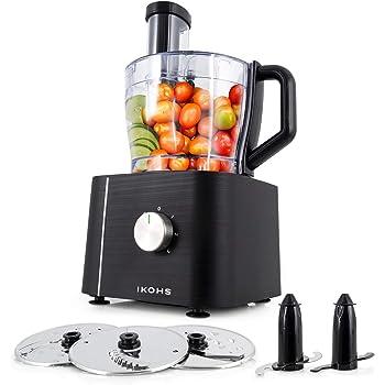 IKOHS KUTCREW - Procesador de Alimentos, Robot de Cocina Multifunción, Picadora, Batidora, Amasadora, Ralladora, 1100W, Bol Procesador 2L, 10 Modos, 3 Velocidades, Cuchillas de Acero Inoxidable (Negro): Amazon.es