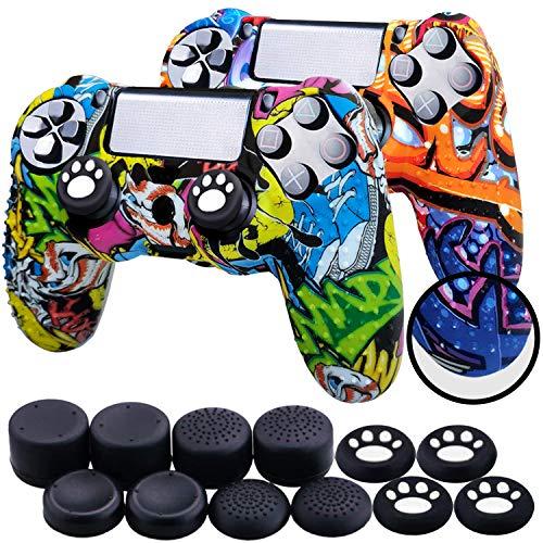 Th-some Fundas para Mando Sony PS4/ PS4 Pro/ PS4 Slim Dualshock 4, Silicona Camuflaje Carcasa Protectora Antideslizante para Play 4/ Playstation 4 (MulticolorC 2 Pcs)