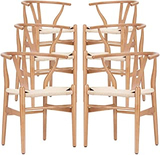 Wishbone Chair - Wooden Dining Chair - Mid Century Style - Inspired by Hans Wegner (6, Beech & Natural Seat)