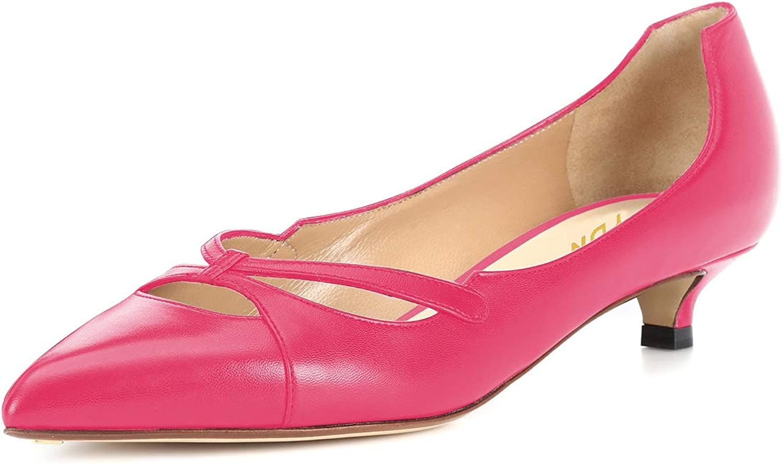 YDN Women Office Pointed Toe Kitten Lowe Heel Pumps Slip on Cutout Walking shoes