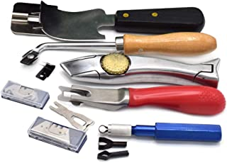 Vinyl Flooring Heat Welding Tools Kit, Quarter Moon Trimming Skiving Knife with Hand Groover Seam Trimmer and PVC Vinyl Flooring Shark Knife w/ 10pcs Straight Blades and 10pcs Cut Hook Blades