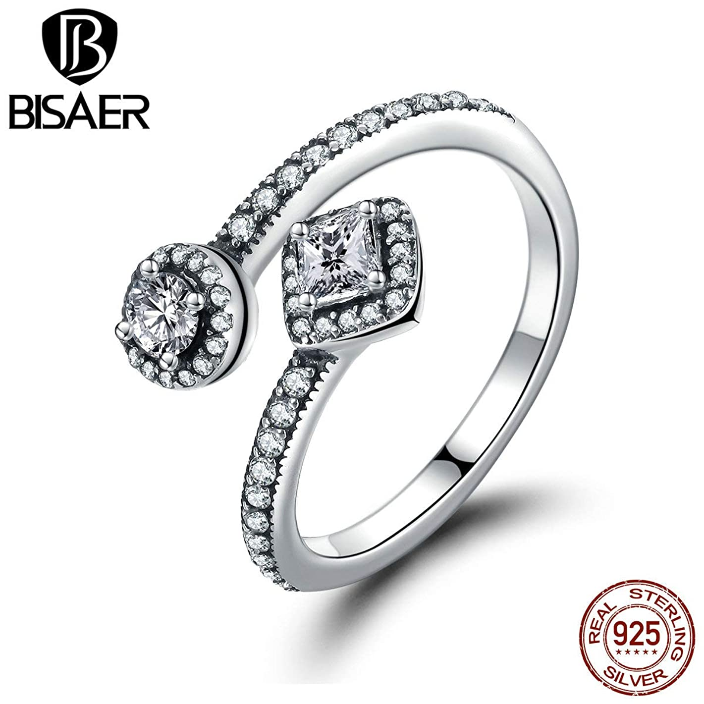 Genuine 925 Sterling Silver Rings | Big Crystals Open Ring for Women | Engagement Fashion Jewelry