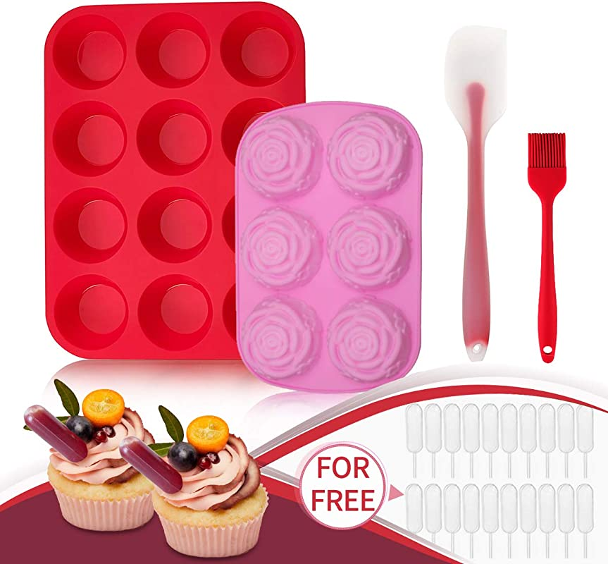 Jeteven Silicone Muffin Pan And Cupcake Pans Flower Chocolate Mold Large 12 Cup Muffins Tray Fat Bombs Ice Cube Jelly Cupcake Baking Mold With 1x Spatula 1x Brush 20x Cupcake Pipette
