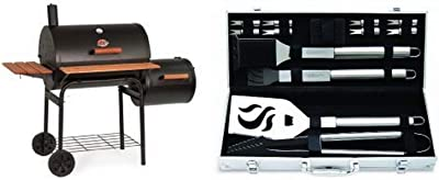 Char-Griller 1224 Smokin Pro 830 Square Inch Charcoal Grill with Side Fire Box with Cuisinart Grilling Set