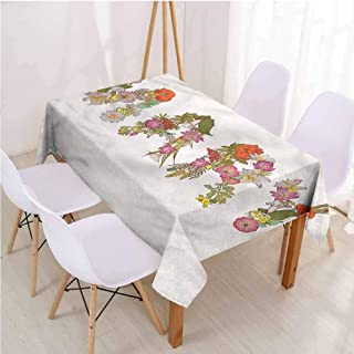 VICWOWONE Restaurant Rectangle Tablecloth Mary Table Decoration Blooming Flower Letters,Rectangle - W60 x L84 inch