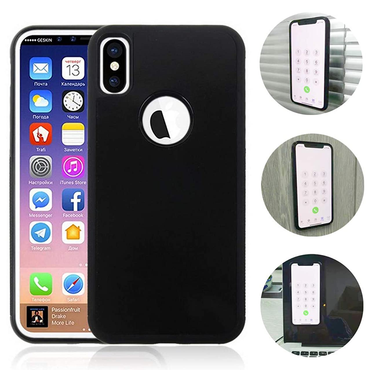 Anti Gravity Case for iPhone X iPhone Xs, Nano-Absorption Stick to Smooth Flat Surface Such as Glass, Wood, Marble, Whiteboards (iPhone X/Xs)