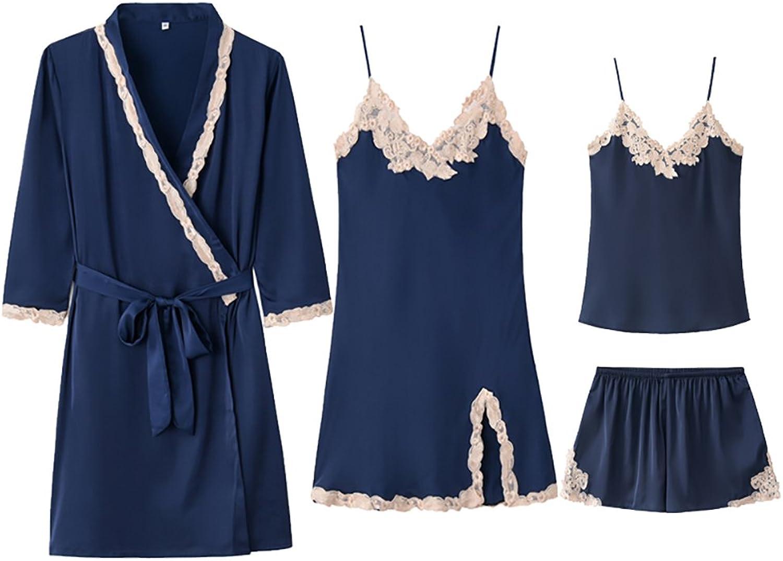 Lilomgjiao Women's Black Romantic Shirt Sling Deep V Classic Pajamas Deep V Sexy Pajamas Dress 4 Piece Set M \ XL