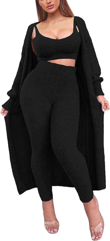 Linsery Women's Fuzzy Fleece Lounge Set Winter Teddy Terry Long Open Cardigan Sweatsuit