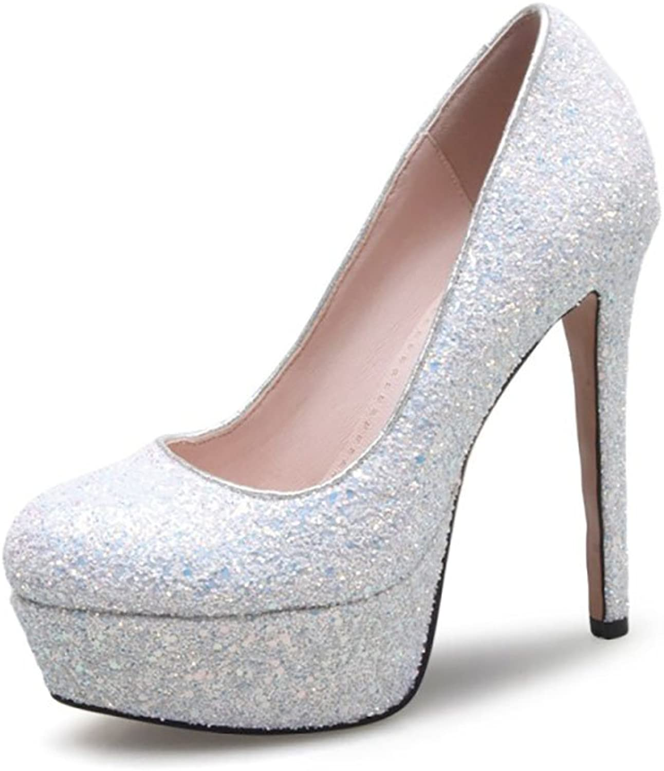 Themost Womens Glitter Sequins Closed Round Toe Heels Stiletto Pumps