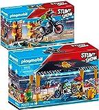 PLAYMOBIL® Stuntshow Juego de 2 Piezas 70552 70553 Tienda Taller + Moto con Muro de Fuego