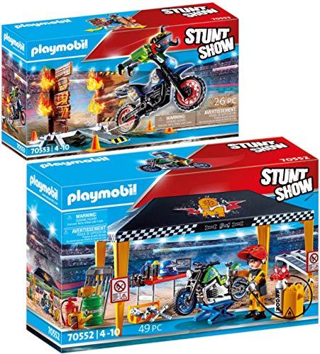 PLAYMOBIL Stuntshow Juego de 2 Piezas 70552 70553 Tienda Taller + Moto con Muro de Fuego
