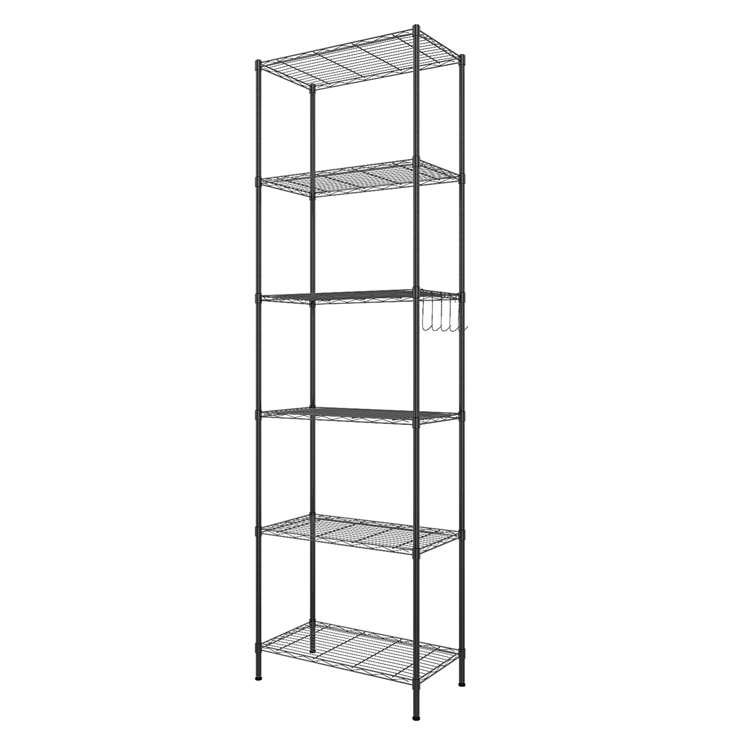 Homdox 6-Tier Storage Shelf Wire Shelving Unit Free Standing Rack Organization Adjustable Leveling Feet, Stainless Side Hooks, Black