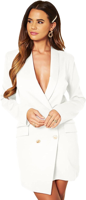 UNIQUE21 Women Luxe Stain Breasted Asymmetric Blazer Dress - Ladies Elegant Casual Work Office Events Blazer Dresses